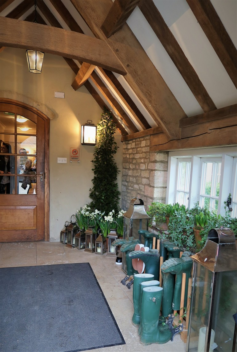 Calcot Manor and Spa entrance. A beautiful  hotel  with amazing interior details. Charming Cotswolds but with a contemporary feel. Great for lunch.